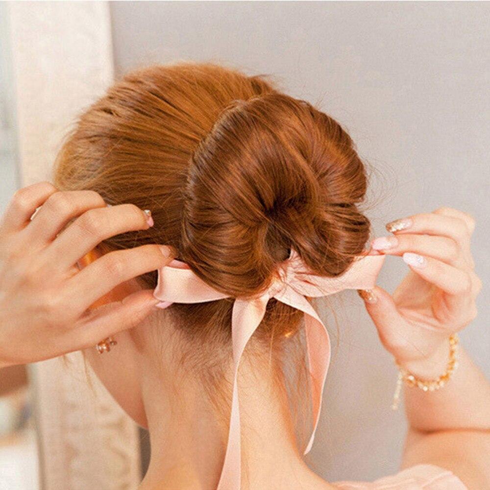 Us 0 52 18 Off Fashion Magic Tools Foam Sponge Device Quick Messy Donut Bun Hairstyle Girl Women Hair Bows Band Accessories Silk Headband In Women S
