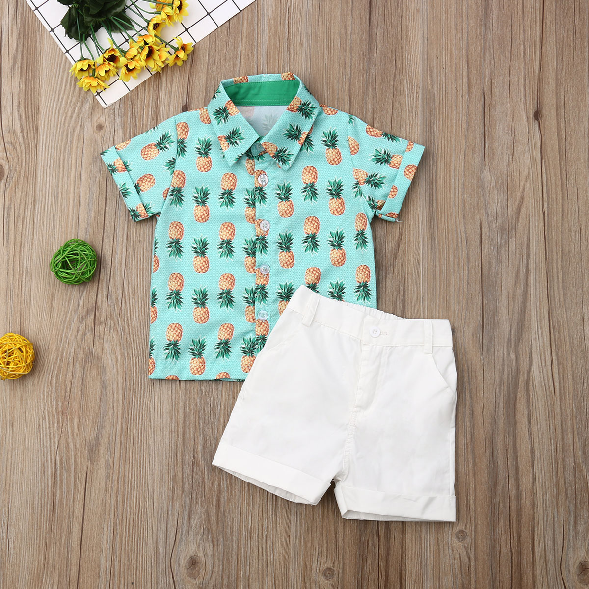Pudcoco Summer Toddler Baby Boy Clothes 2Pcs Gentleman Pineapple Print Shirt Tops Short Pants Clothes Outfits Set Summer