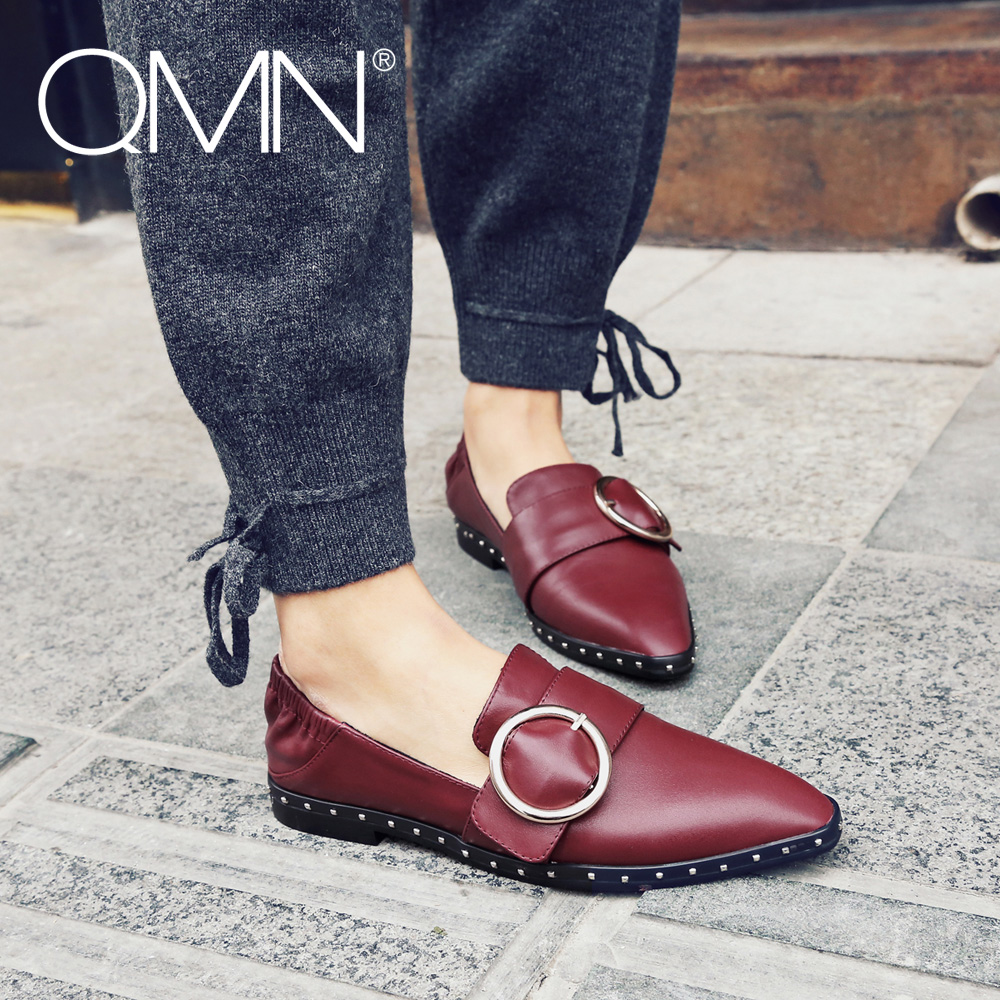 QMN women genuine leather flats Women Studded Leather Square Toe Loafers Slip On Casual Shoes Woman Buckled Leather Flats 34-40  qmn women genuine leather flats women horsehair loafers retro square toe slip on flat platform shoes woman creepers 34 42