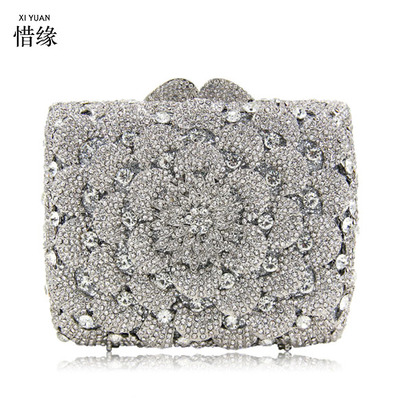 XIYUAN BRAND blue Clutch Bag with flower Ladies Diamond Multicolor Evening day Clutches Unique Prom Handbag Party Purse silver roamer часы roamer 709 856 41 57 70 коллекция classic line
