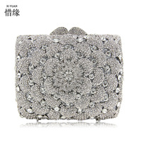 XIYUAN BRAND blue Clutch Bag with flower Ladies Diamond Multicolor Evening day Clutches Unique Prom Handbag Party Purse silver