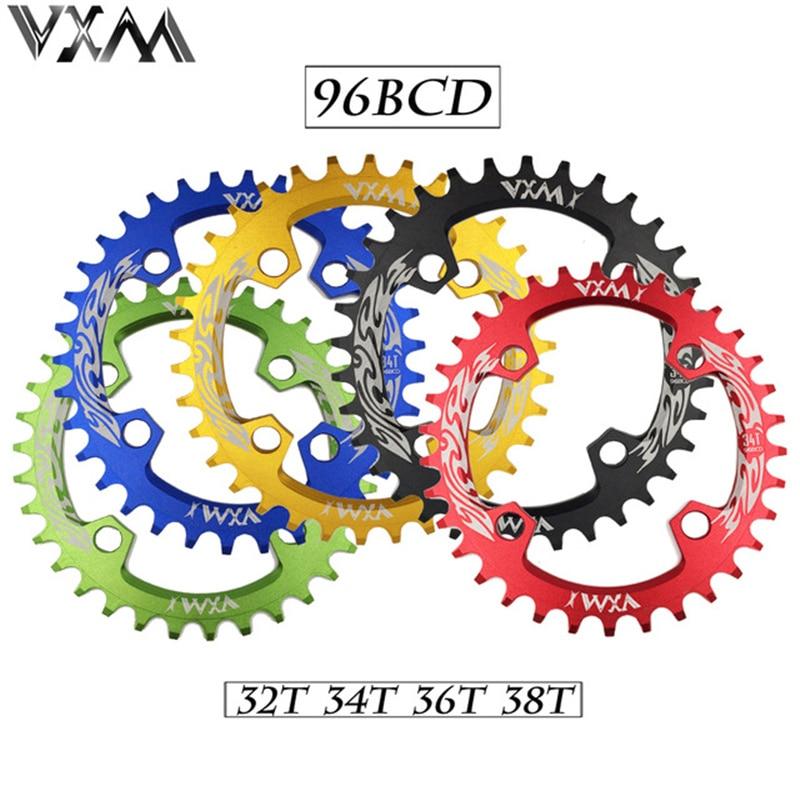 Vxm bicicleta manivela & roda dentada 96bcd 32 t/34 t/36 t/38 t redondo estreito largo anel de corrente mtb estrada da bicicleta peças da roda dentada