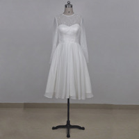 Real Picture Short Wedding Dress O Neckline Long Sleeve Ivory Lace Chiffon Wedding Gown Knee Length