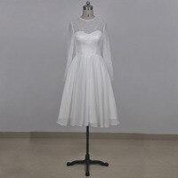 Immagine reale abito da sposa corto O scollatura a maniche lunghe in pizzo abito da sposa in chiffon di lunghezza del ginocchio per l'estate della festa nuziale nuziale