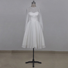 Real picture short wedding dress O neckline long sleeve lace chiffon wedding gown knee length for summer wedding bridal party