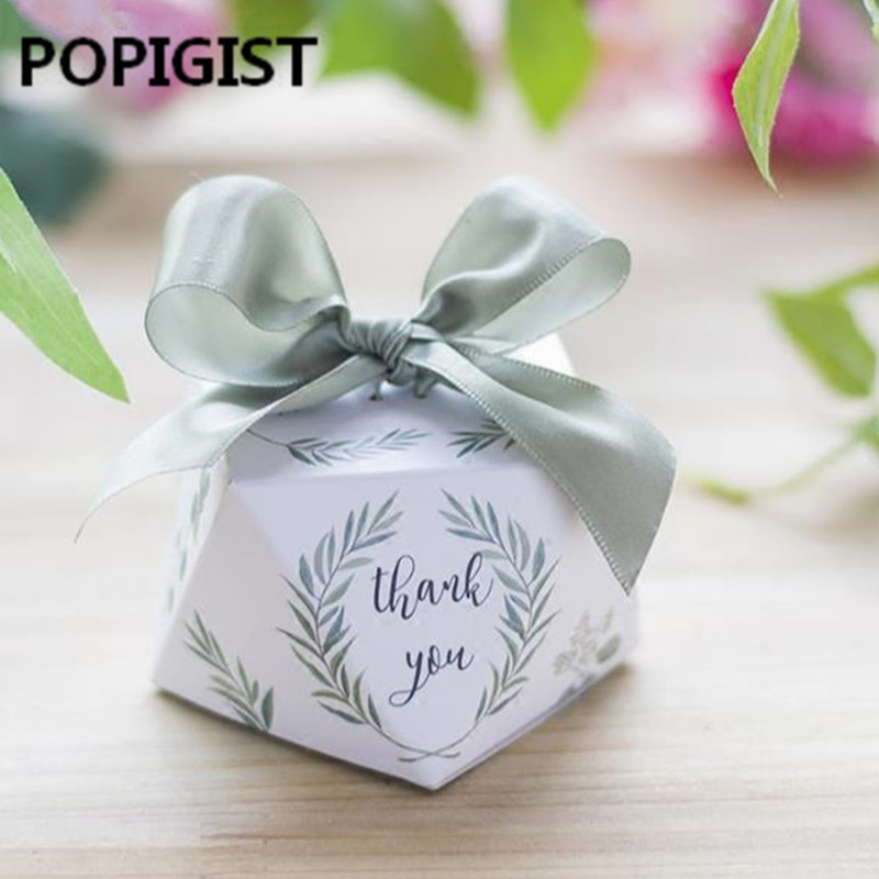 European Diamond Shape Green Forest Style Candy Boxes Wedding Favors Bomboniere Paper Thanks Gift Box Party Chocolate Box 50pcs
