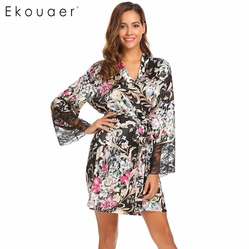 54ac4a87026ee ... Ekouaer сексуальный женский халат кимоно с длинным рукавом Халат  Кружевной Отделкой Ночная сорочка с леопардовым принтом ...