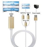 3 em 1 Para Relâmpago Micro USB-Tipo C para HDMI Adaptador AV Digital 1080 p HDTV Cabo Para IPhone X 8 p Ar Ipad mini Android Telefone