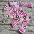2017 новые новорожденных девочек одежда девушки V-day наряды розовый топ с Горячей Пончик рябить брюки с длинным рукавом девушки бутик-наборы