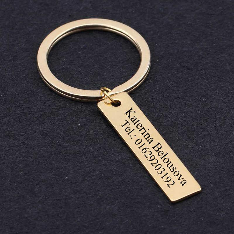 Нержавеющаясталь брелок личные специально имя и номер телефона подарок для Семья старики Ect брелок комплект