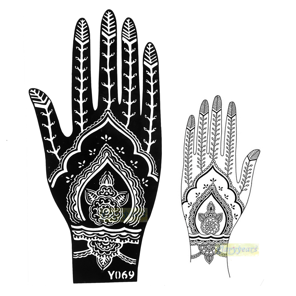 Buy 1pc new glitter flower mehndi henna for Henna temporary tattoo stencils