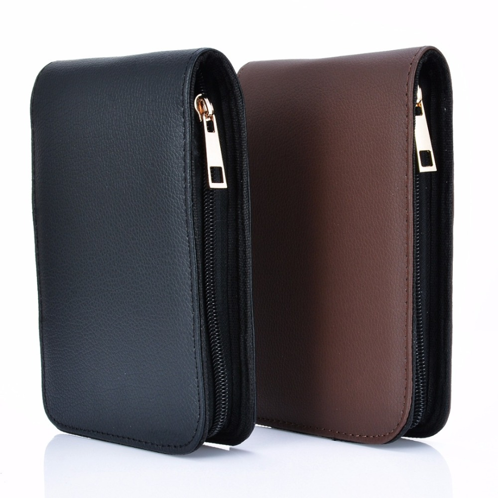 1Pc Artificial Leather Fountain Pen Case 175*120*25mm 12 Pens Fountain Pen Roller Leather Case Holder Stationery For Student