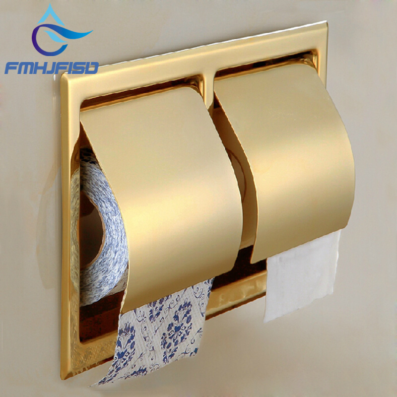 Wholesale And Retail Promotion Luxury Golden Brass Toilet Paper Holder Tissue Bar Box Wall Mounted Paper Holder wholesale and retail luxury polished golden bathroom toilet paper holder tissue box wall mounted dual paper boxes