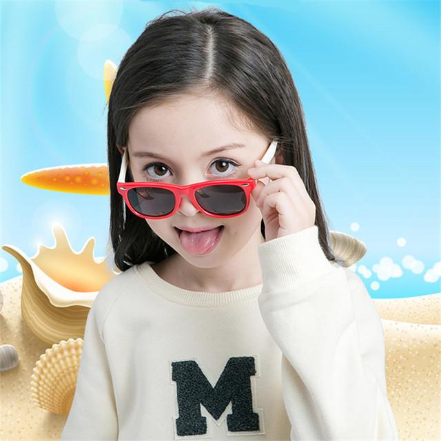 New Silicone Children's Polarizing Sunglasses Square Boys and Girls' Glasses UV400 Brand Design Soft Safety Sunglasses