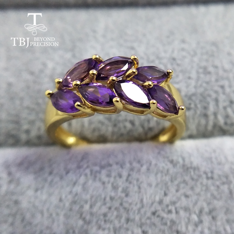TBJ natural gemstone African amethyst rings 925 sterling silver simple style fine jewelry for girls birthday