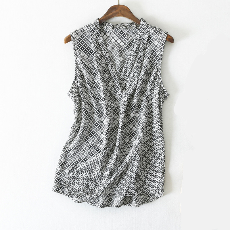 Women Summer Silk Blouse V neck Sleeveless office wear casual elegant natural silk blouses Geometric print real silk shirt tops