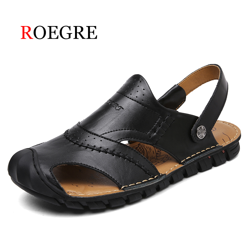 ROEGRE genuine leather men sandals summer cow leather new for beach male shoes mens gladiator sandal leather sandals