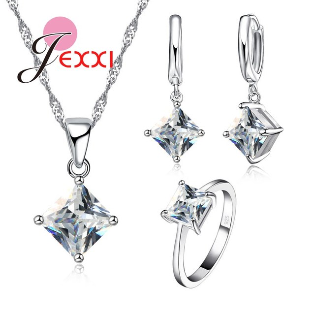 JEXXI Factory Price Fashion Elegant CZ Crystal 3Pcs Pendant Necklace Earrings Ring 925 Sterling Silver Jewellery Set For Woman