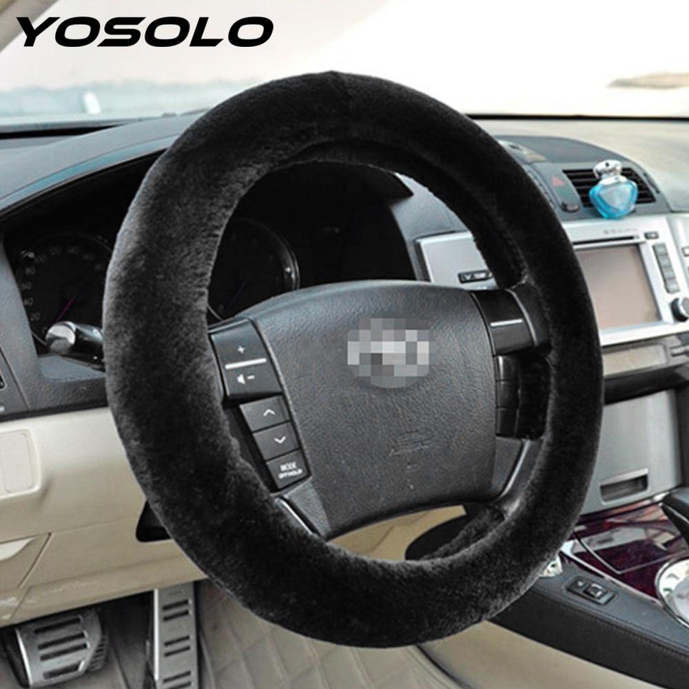YOSOLO Car Steering Wheel Cover Auto Accessories Keep Warm volante Protection High Quality Plush Black Grey