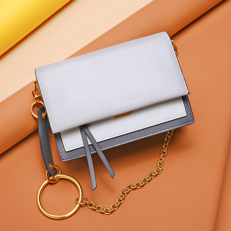 Contrast Color Genuine Leather Fashion Crossbody Bags For Women Famous Brands In Women 39 s Shoulder Bags Ring Chain Messenger Bag in Shoulder Bags from Luggage amp Bags