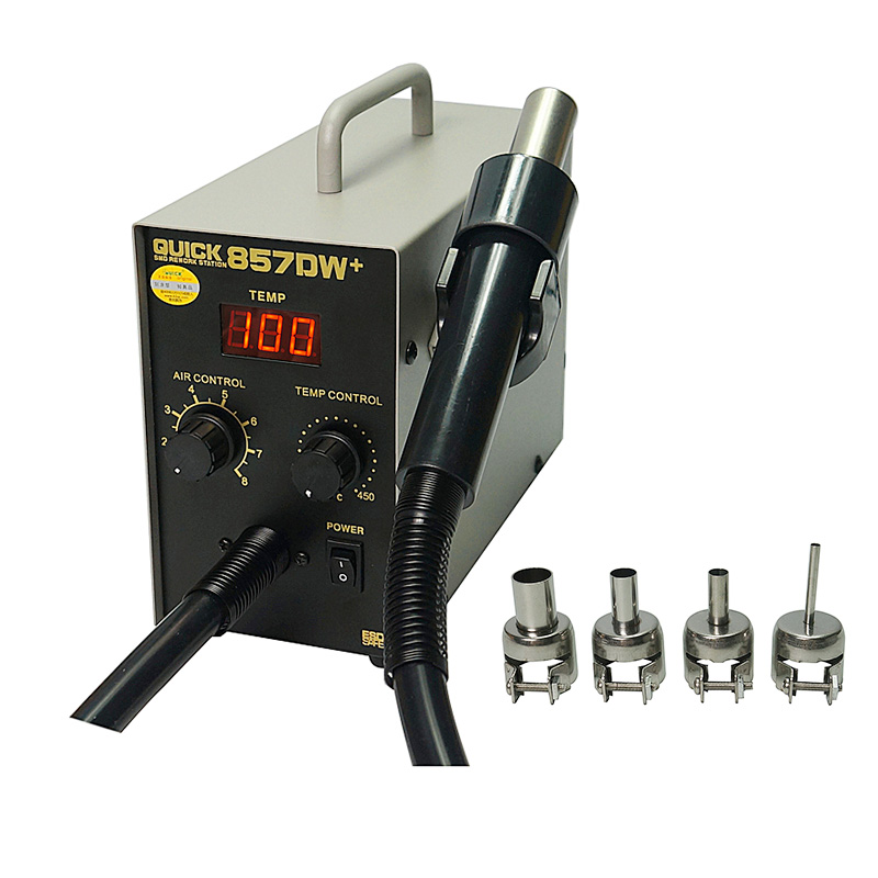 580W QUICK 857DW+  Adjustable Hot Air Gun Soldering Station With Heater Helical Wind Air Gun SMD Rework Station