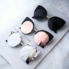 Стильные женские брендовые дизайнерские круглые большие классические розовые зеркальные солнцезащитные очки кошачий глаз, женские вечерние Винтажные Солнцезащитные Очки