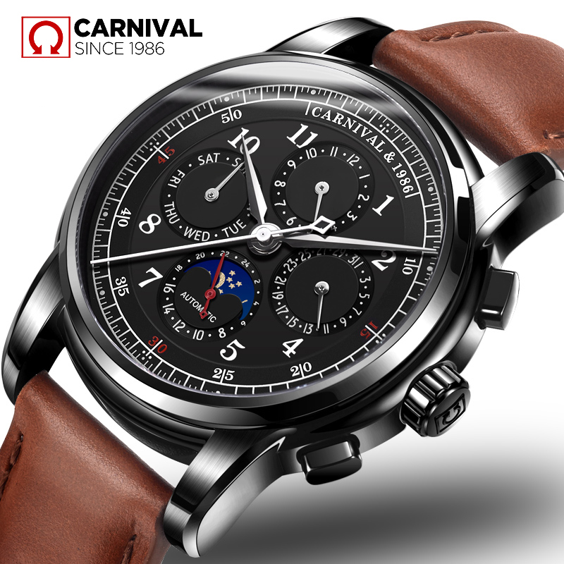 Carnival Luxury Mechanical Watches Genuine Leather Automatic Watch Men 30M Waterproof Male Clock Moon Phase horloges mannen 2018