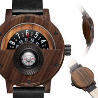 Creative Wooden Watch For Men Unique Compass Turntable Half Dial Male Clock Leather Natural Wood Wristwatch Luxury Watch Relogio