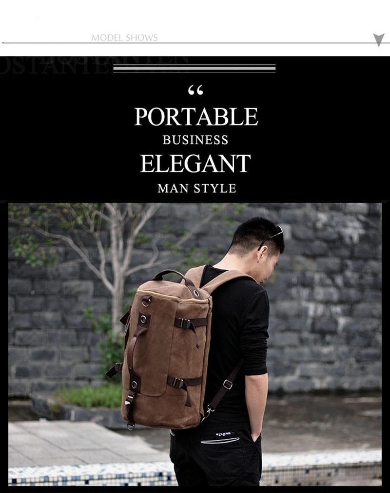 Men's Multi-Functional Backpack Vintage Shoulder Bag High Quality Canvas Male Bagpack Rucksack Travel Luggage for Weekend 7