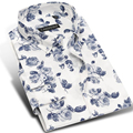 Brand Floral Print Casual Cotton Batik Shirt Men Long Sleeve Fashion Spring Youth Boys Male Slim Fit Dress Shirts Plus Size 4XL