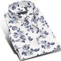 Marca de la Impresión Floral Casual Algodón Batik Camisa de Los Hombres de Moda de Manga Larga primavera Chicos Jóvenes Hombres Adelgazan Las Camisas de Vestido Más El Tamaño 4XL