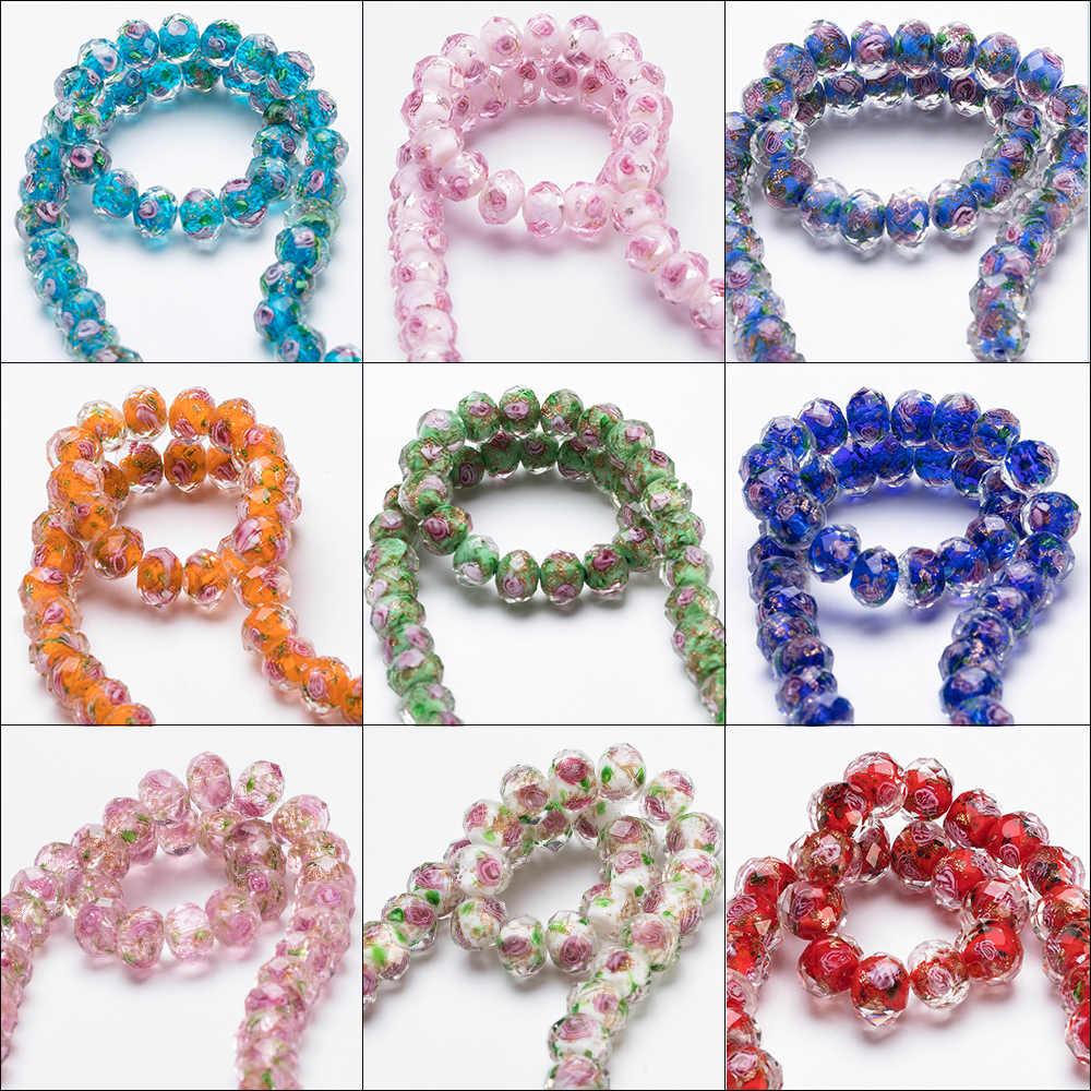12mm Große Murano Transparent Glas Murano Perlen für Schmuck Machen Frauen Diy Armband Blume Rondelle Faceted Perlen L002