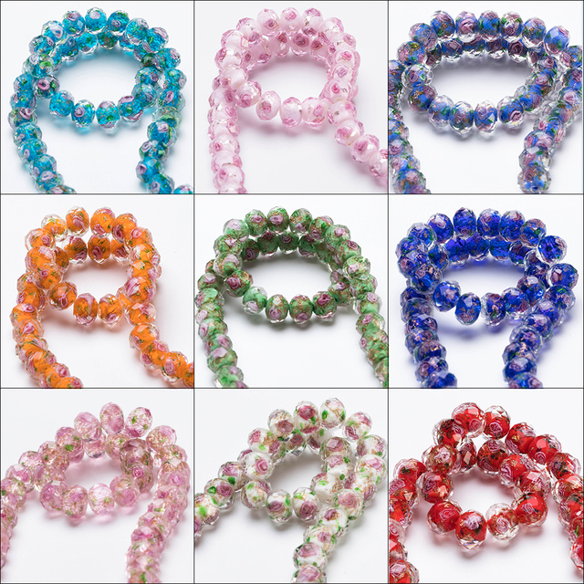 12mm Large Murano Transparent Glass Lampwork Beads for Jewelry Making Women Diy Bracelet Flower Rondelle Faceted Beads L002