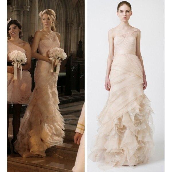 Elegant Stunning Blake Lively Serena Tulle One Shoulder Pink Wedding ...