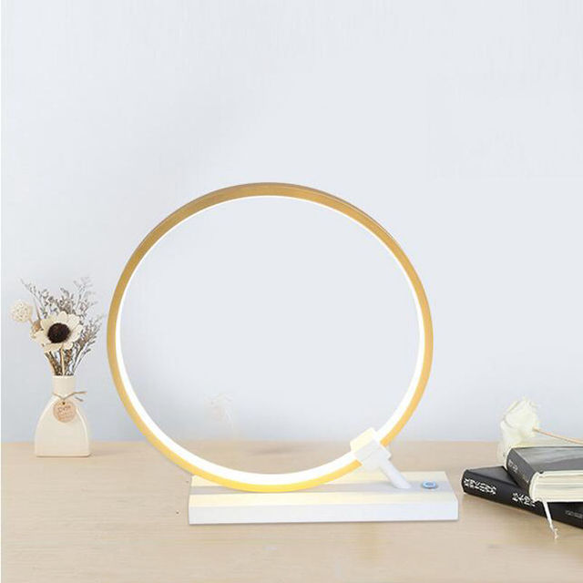 New Products, Modern Art Table Lamps, LED Adjustable Table Lamps, Gold Borders, Round Bedroom Table Lamps