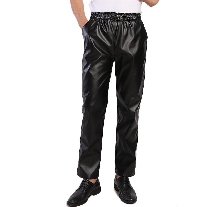Idopy Men`s Business Regular Fit Stretchy Comfy Black Solid Faux Leather Pants Jeans Trousers Slacks Elastic Waist For Men