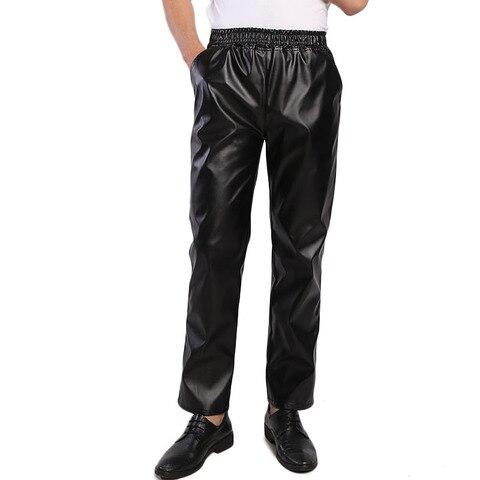 Negócio dos Homens Calças de Couro Calças de Cintura Elástica para Homens Regular Stretchy Idopy Comfy Preto Sólido Falso Calças Jeans Fit