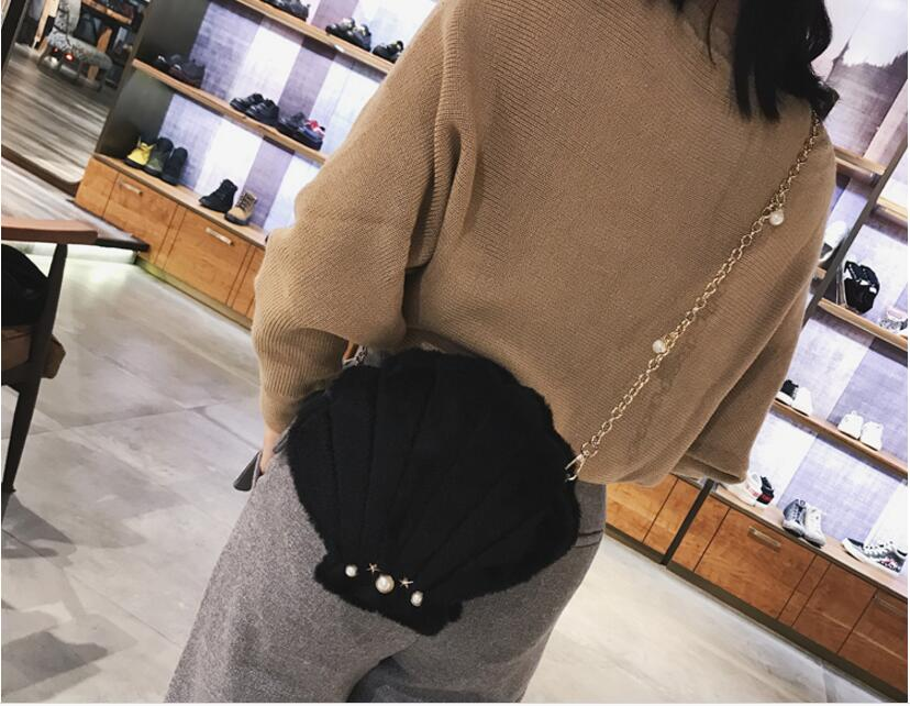 New Fashion Women 39 s Plush Shoulder Bag Pearl Shell Messenger Bag Retro Personality Lady Bags Solid Color Bag in Shoulder Bags from Luggage amp Bags