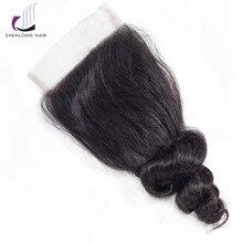 """SHENLONG HAIR Loose Wave 8-20 """"4 * 4 Csipke záró mongol haj Non Remy Természetes színes emberi haj szabad / Közép / Három rész bezárása"""