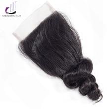 "SHENLONG HAIR Loose Wave 8-20 ""4 * 4 Lace Closure Mongolian Hair Non Remy Naturlig Farve Menneskehår Gratis / Mellem / Tre Dellukning"