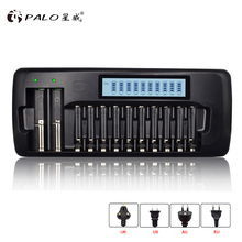 PALO 12 Slots LCD Smart Charger for AA/AAA SC Ni-MH Ni-Cd Rechargeable Battery 3.7V Li-ion 18650 18490 17670 17500 16340