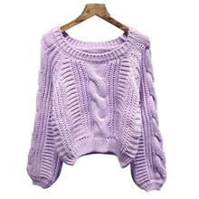 Women New 2018 Arrival Crop Sweater Vintage Twist Knitted Ladies Casual Autumn Winter Short Knitwear Pullover