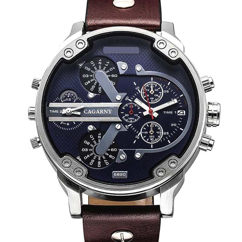 Luxury Brand Men Quartz Wrist Watch Dual Movement Sports Watch CAGARNY Man Casual Watches Relogio Male