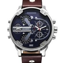 Marque de luxe Hommes Bracelet À Quartz Montre Double Mouvement Montre de Sport CAGARNY Homme Casual Montres Relogio Mâle Relojes Horloge Hommes