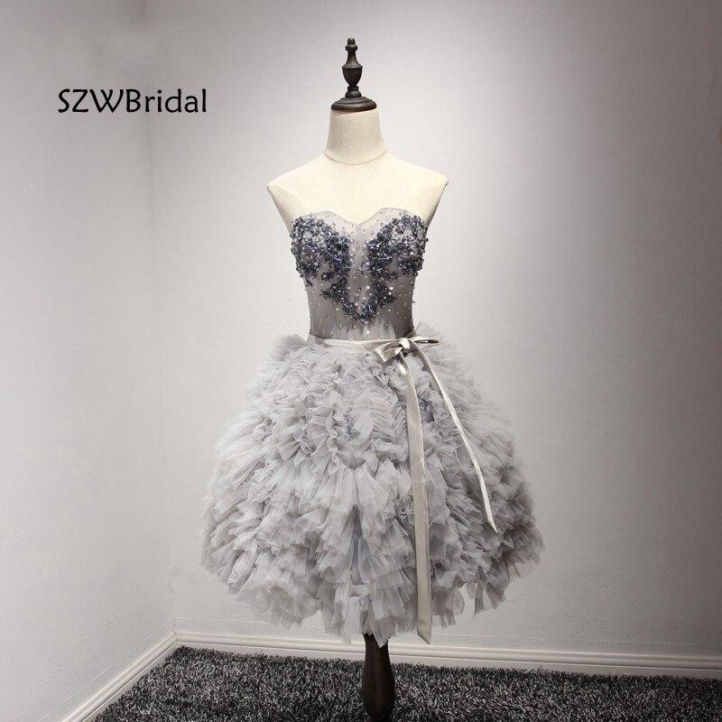 New Arrival Sweetheart Short Evening Dress 2019 Puffy Skirt Beaded Cheap Evening Party Formal Dress Kaftan Vestido De Noche