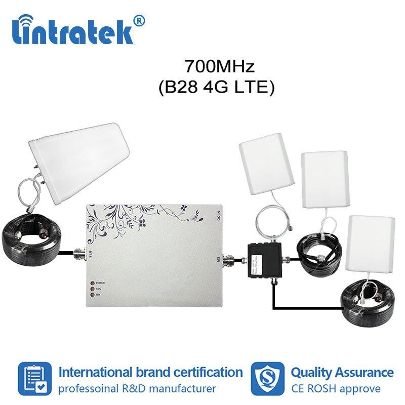 Lintratek 3pcs Internal Antennas Kit 4G B28 LTE 700mhz Mobile Phone Signal Booster MGC/AGC/ISO Functional Repeater Amplifier#7+1