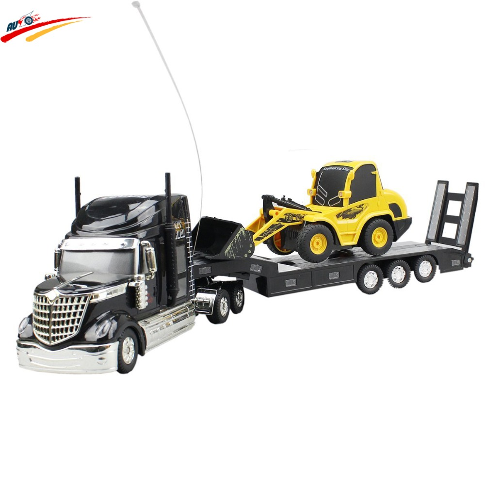 ФОТО RC Truck 6 Channel Long Hauler Vehicle + Remote Control Platform Trailer Auto Tail Board Black with RC Bulldozer