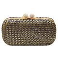 Ladies Handmade Straw Woven Clutch Vintage Women Evening Bag Bridal Wedding Purses Dinner Party Wallet Gold bolsas mujer XA993B