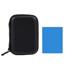 Festplatte Tragetasche Portable Storage Tasche EVA Stoßfest Auswirkungen Beständig Harte Fall SSD + Blau Silikon Schutzhülle