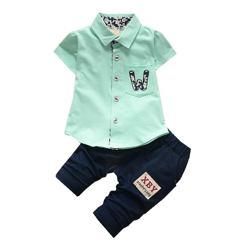 Boys Summer Clothing Set Solid Color Cotton Letter 1 2 3 4 Years Boys Clothes Suits Shirt Pant 2PCS Black Shorts Kids Clothing